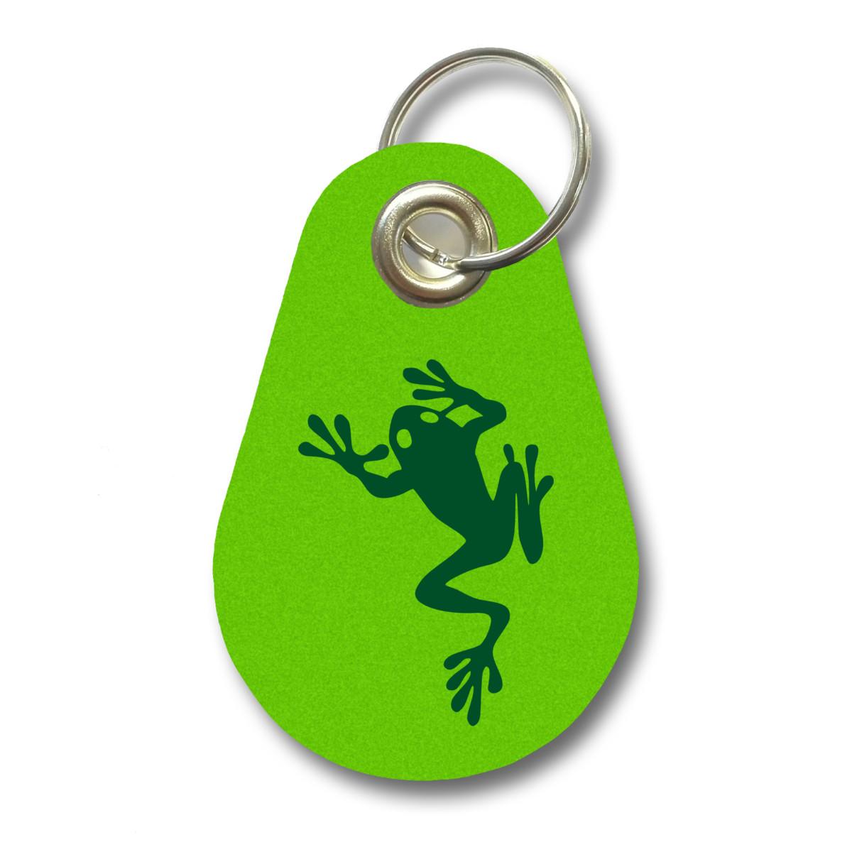 Details zu Schlüsselanhänger Kletternder Frosch aus Filz 12 Farben 9,5x6,5cm