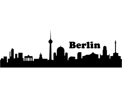 wandtattoo berlin skyline schwarz 30x9 4 cm plot4u. Black Bedroom Furniture Sets. Home Design Ideas