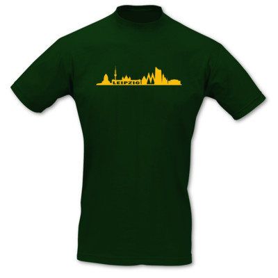 T-Shirt Leipzig Skyline gr�n/goldgelb 5XL