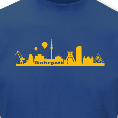 T-Shirt Ruhrpott Skyline royal blau/goldgelb L Sonderangebot