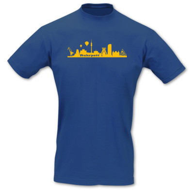 T-Shirt Ruhrpott Skyline royal blau/goldgelb L