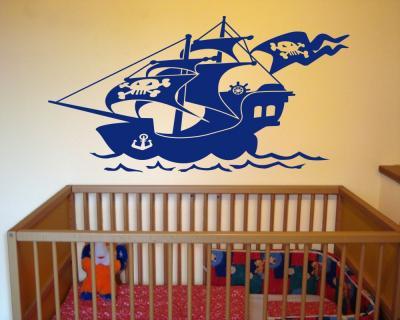 Wandtattoo piratenschiff wandaufkleber plot4u for Wandtattoo piratenschiff