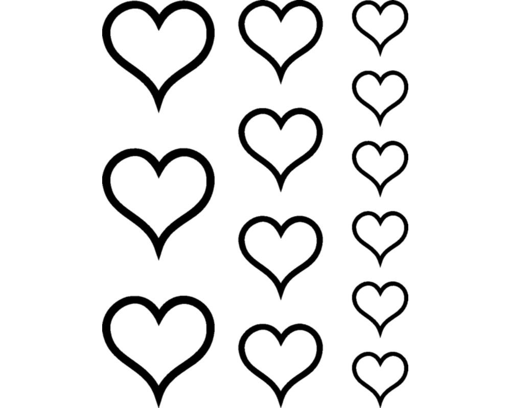 ANSEHEN 50er Set Herzen ca 10 x 10 mm DECUT DECAL viele Farben!