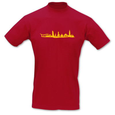 T-Shirt Kiel Skyline rot/goldgelb XL