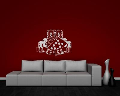 wandtattoo poker wandaufkleber 25 farben 4 gr en wandsticker sticker ebay. Black Bedroom Furniture Sets. Home Design Ideas