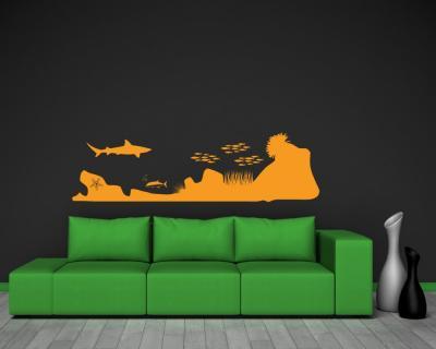 wandtattoo unterwasserwelt shark attack plot4u. Black Bedroom Furniture Sets. Home Design Ideas