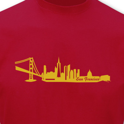 T-Shirt San Francisco Skyline rot/gold-metallic L Sonderangebot