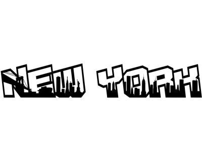 new york city schriftzug skyline aufkleber plot4u. Black Bedroom Furniture Sets. Home Design Ideas