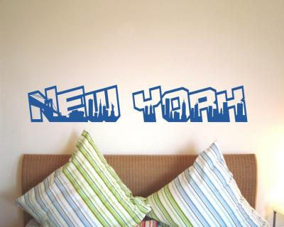 Wandtattoo New York City Schriftzug Skyline Wandtattoo