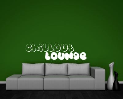 wandtattoo 39 chillout lounge 39 wandaufkleber 25 farben 9 gr en wandsticker musik ebay. Black Bedroom Furniture Sets. Home Design Ideas