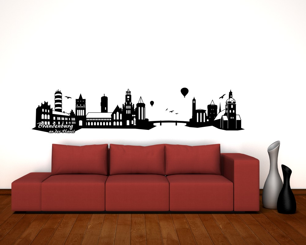 wandtattoo brandenburg an der havel skyline 25 farben 8 gr en wandsticker deko ebay. Black Bedroom Furniture Sets. Home Design Ideas