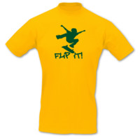 "T-Shirt Skateboard ""Flip it"" T-Shirt Modellnummer 001059-020-404  goldgelb/grün"