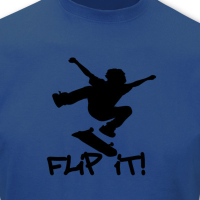"T-Shirt Skateboard ""Flip it"" royal blau/schwarz S Sonderangebot"