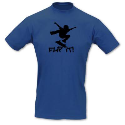 T-Shirt Skateboard 'Flip it' royal blau/schwarz S