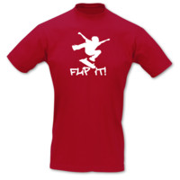 "T-Shirt Skateboard ""Flip it"" T-Shirt Modellnummer 001059-904-401  rot/weiß"