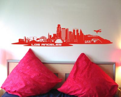 Wandtattoo Los Angeles LA Skyline 160x35cm rot