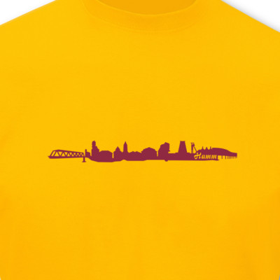 T-Shirt Hamm Skyline goldgelb/bordeaux L Sonderangebot