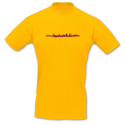 T-Shirt Hamm Skyline goldgelb/bordeaux L