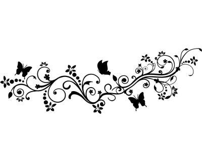 Wandtattoo Blumenranke mit Schmetterlingen | plot4u