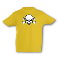 Kinder T-Shirt Piraten Totenkopf Kinder T-Shirt Modellnummer 001145-020-998  goldgelb/farbiger Aufdruck