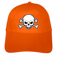 Kinder Kappe Piraten Totenkopf Kappe Modellnummer 001145-035-998  orange/farbiger Aufdruck