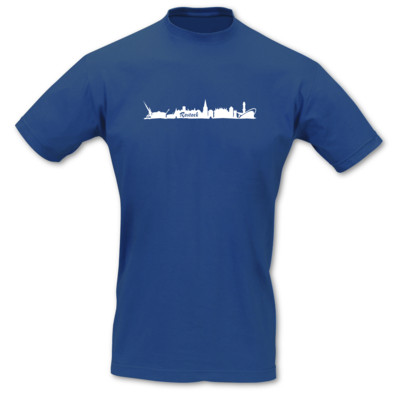 T-Shirt Rostock Skyline royal blau/weiß L