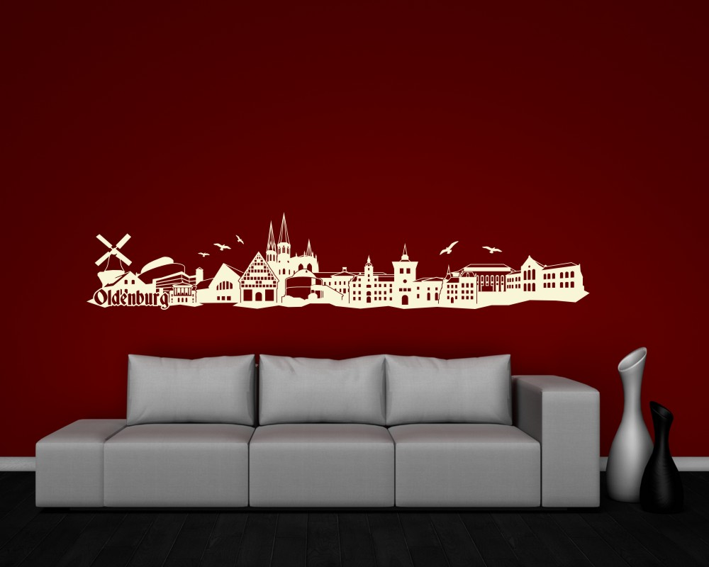wandtattoo oldenburg skyline wandaufkleber 25 farben 8 gr en wandsticker deko ebay. Black Bedroom Furniture Sets. Home Design Ideas