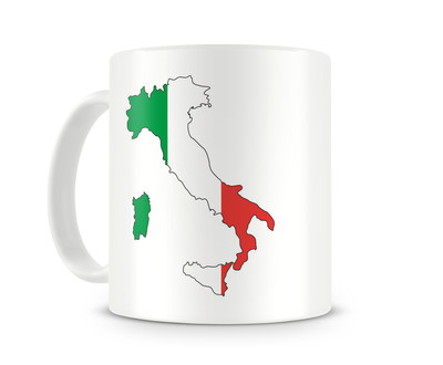 Tasse mit Italien in Nationalfarben