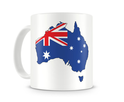 Tasse mit Australien in Nationalfarben