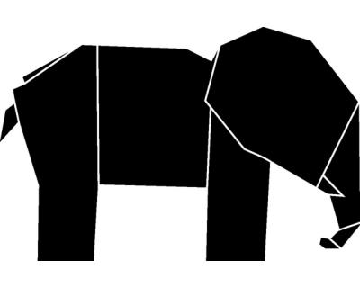 origami elefant wandtattoo plot4u. Black Bedroom Furniture Sets. Home Design Ideas