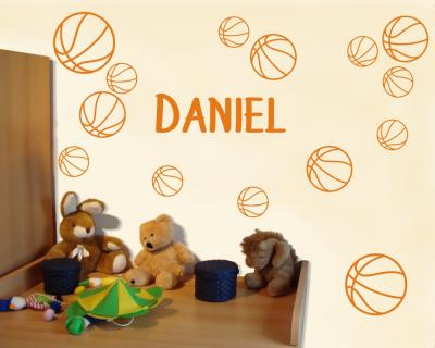 Basketball Set mit Namen Wandtattoo Wandtattoo