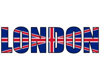 London Schriftzug Aufkleber Nationalfarben Plot4u