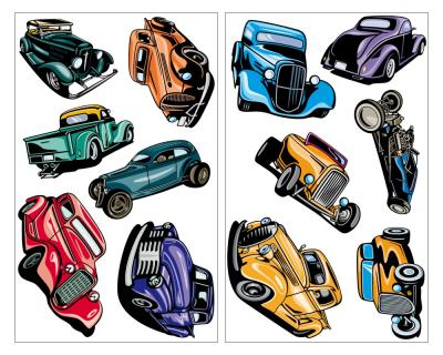 12 Hot Rod Set Wandtattoo Wandtattoo