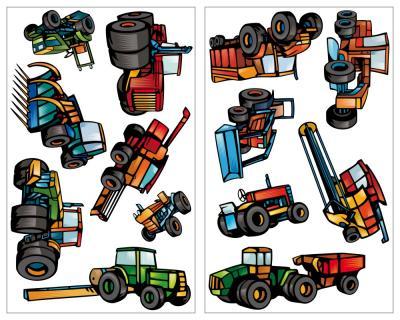 13 teiliges trecker traktor und fahrzeug set wandtattoo - Traktor wandtattoo ...