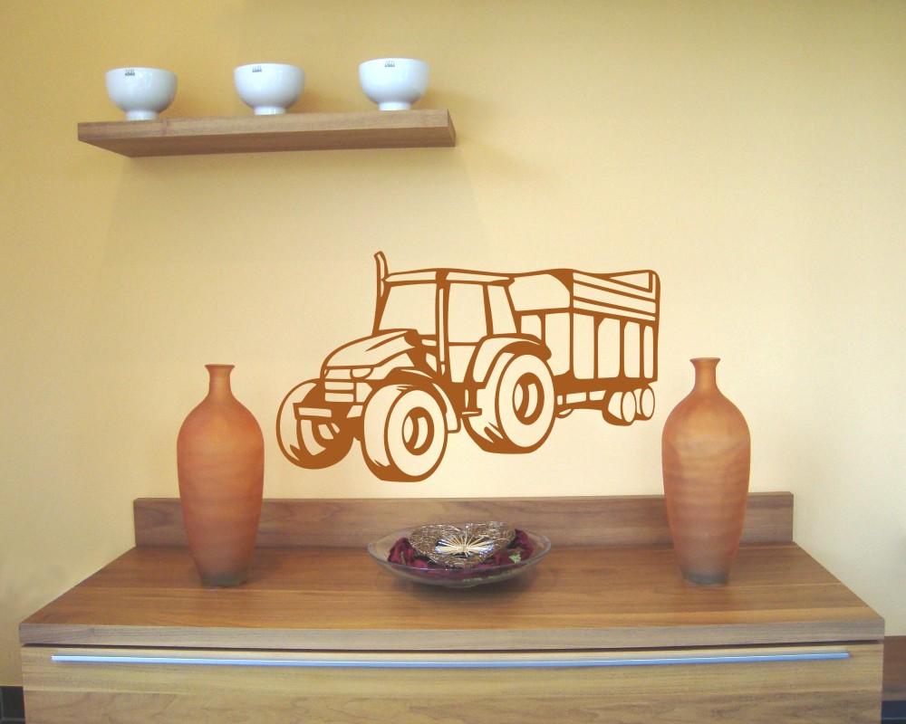 Trecker mit anh nger wandtattoo traktor 25 farben wandasticker aufkleber deko ebay - Wandtattoo traktor kinderzimmer ...