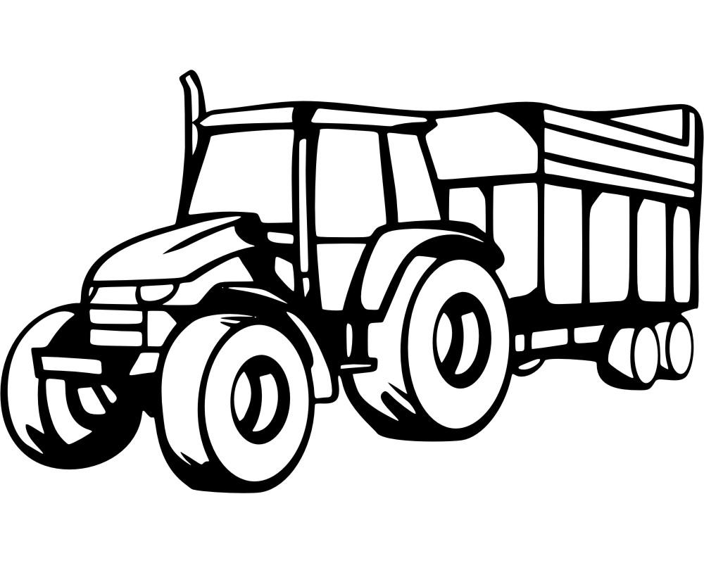 trecker mit anhänger wandtattoo traktor 25 farben
