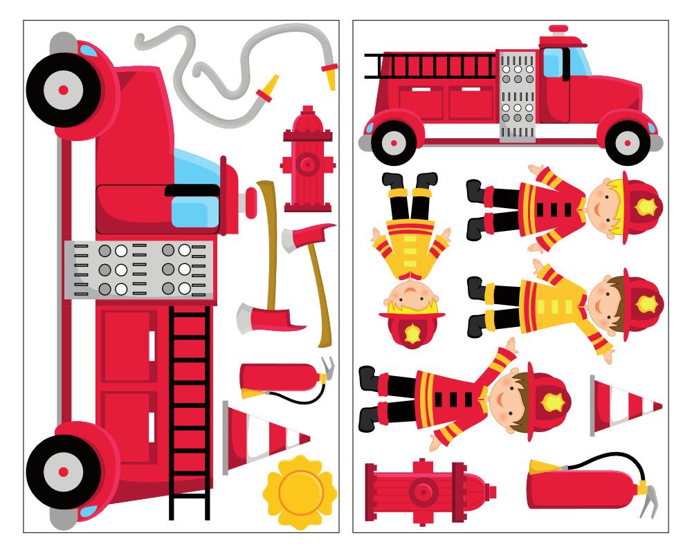 17 tlg feuerwehr wandtattoo set feuerwehrauto kinder wandaufkleber kinderzimmer ebay - Feuerwehr wandsticker ...