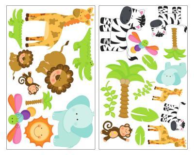 25 Teiliges Safari Tiere Wandtattoo Set Giraffe Wandsticker Lowe Kinderzimmer Jungle Plot4u
