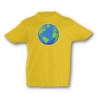 Kinder T-Shirt Planet Erde Kinder T-Shirt Modellnummer 001655-020-998  goldgelb/farbiger Aufdruck