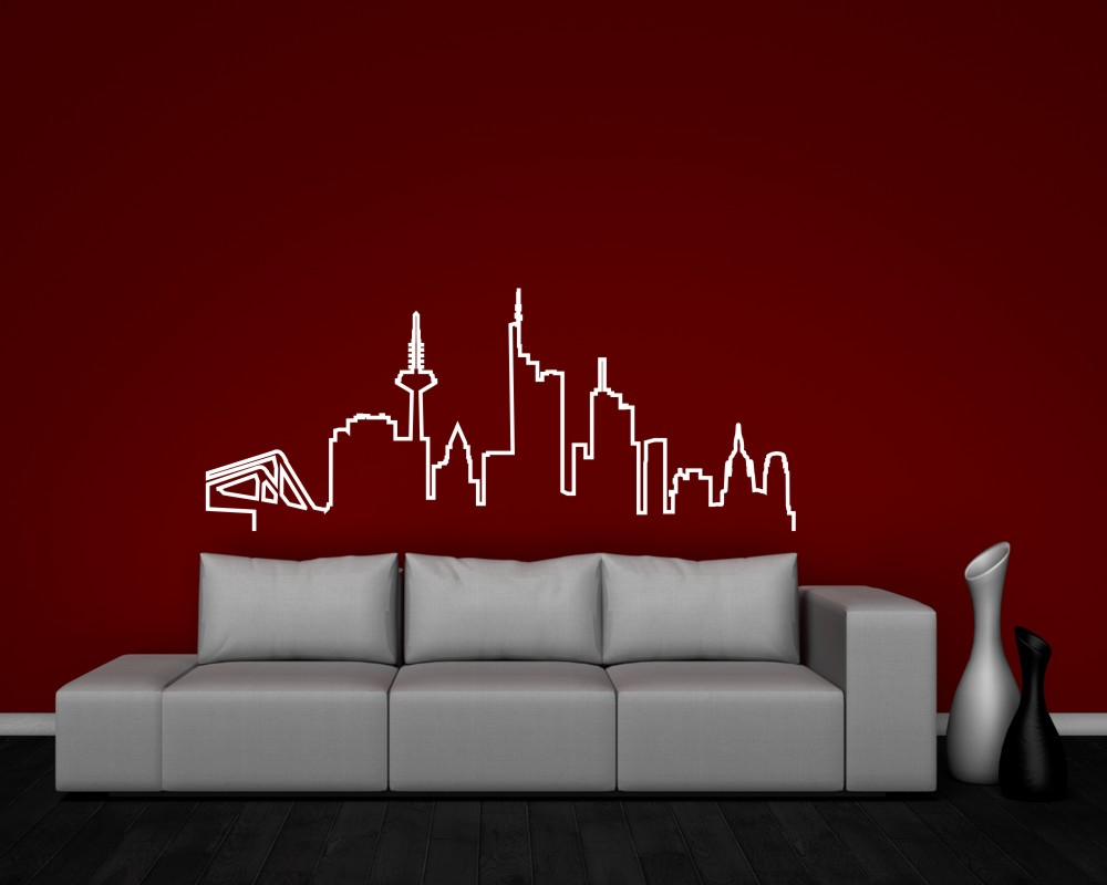 samunshi frankfurt skyline wandtattoo silhouette 25 farben 8 gr en ebay. Black Bedroom Furniture Sets. Home Design Ideas