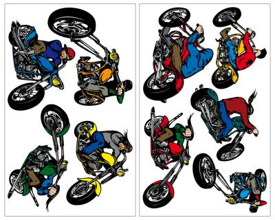 9-teiliges Chopper Motorrad Wandtattoo Set Wandtattoo