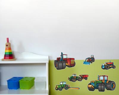 13-teiliges Trecker Traktor und Fahrzeug Set Wandtattoo Mähdrescher ...