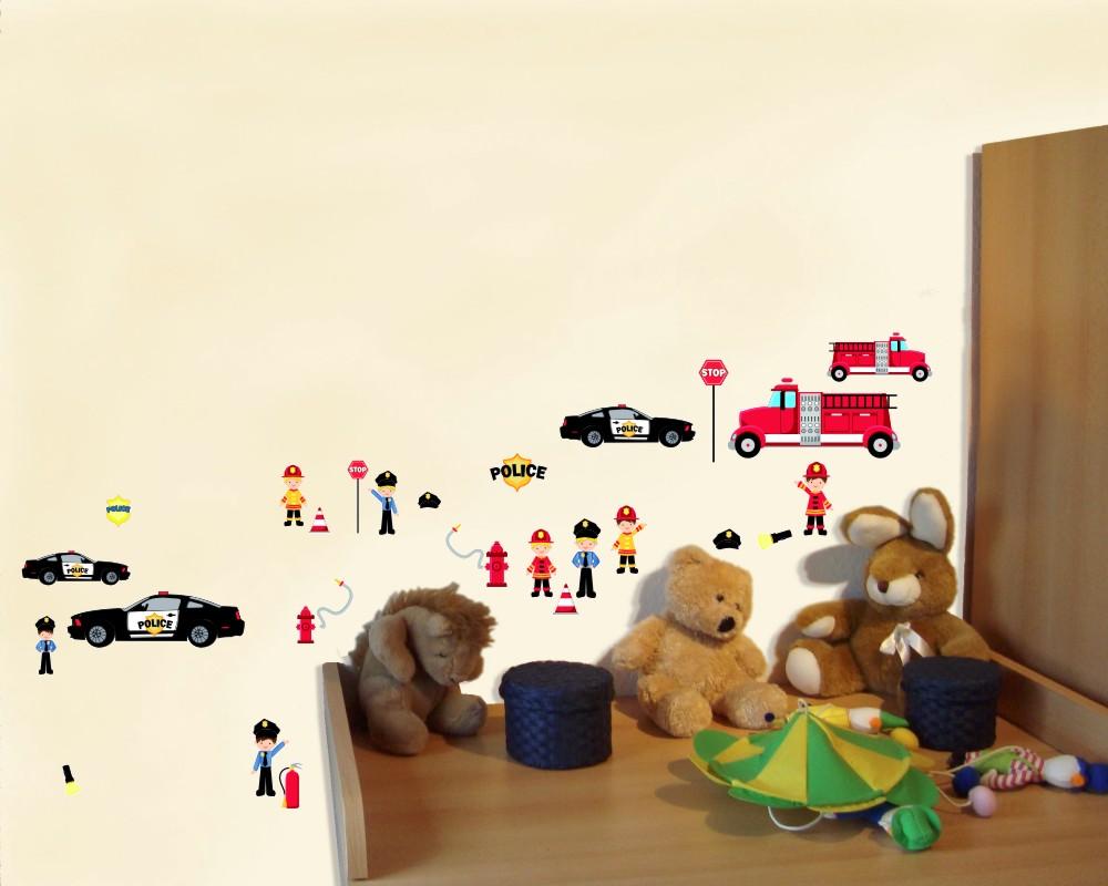 34 tlg feuerwehr polizei wandtattoo set kinderzimmer baby 3 gr en ebay - Wandsticker feuerwehr ...