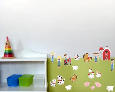 20 teiliges bauernhof set wandtattoo schwein trecker. Black Bedroom Furniture Sets. Home Design Ideas