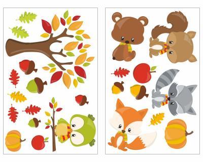 24 Teiliges Herbst Tiere Set Wandtattoo Wandtattoo