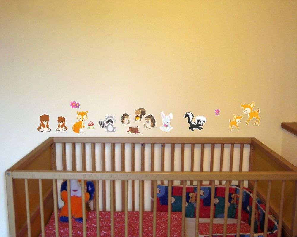 15 tlg s e waldtiere wandtattoo set kinderzimmer baby 3 gr en ebay. Black Bedroom Furniture Sets. Home Design Ideas