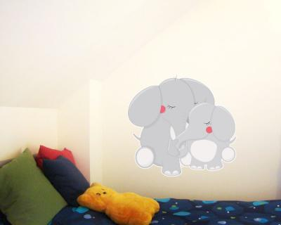 kuschelnde elefanten wandtattoo wandaufkleber kinderzimmer plot4u. Black Bedroom Furniture Sets. Home Design Ideas
