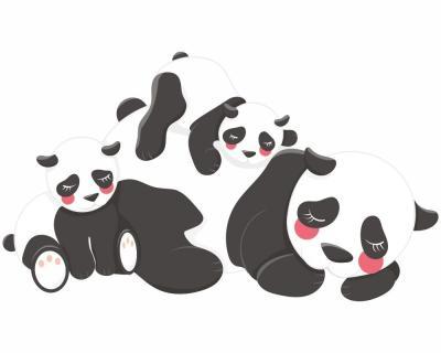 kuschelnde pandas wandtattoo aufkleber kinderzimmer 5 gr en wandaufkleber ebay. Black Bedroom Furniture Sets. Home Design Ideas