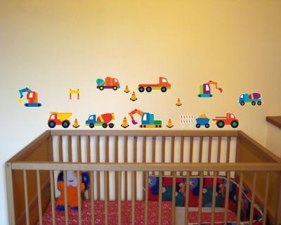 18 teiliges baby baustellen fahrzeuge wandtattoo set for Kinderzimmer fahrzeuge