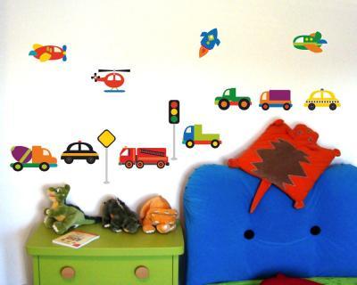 45 tlg verschiedene fahrzeuge wandtattoo set kinderzimmer for Kinderzimmer fahrzeuge